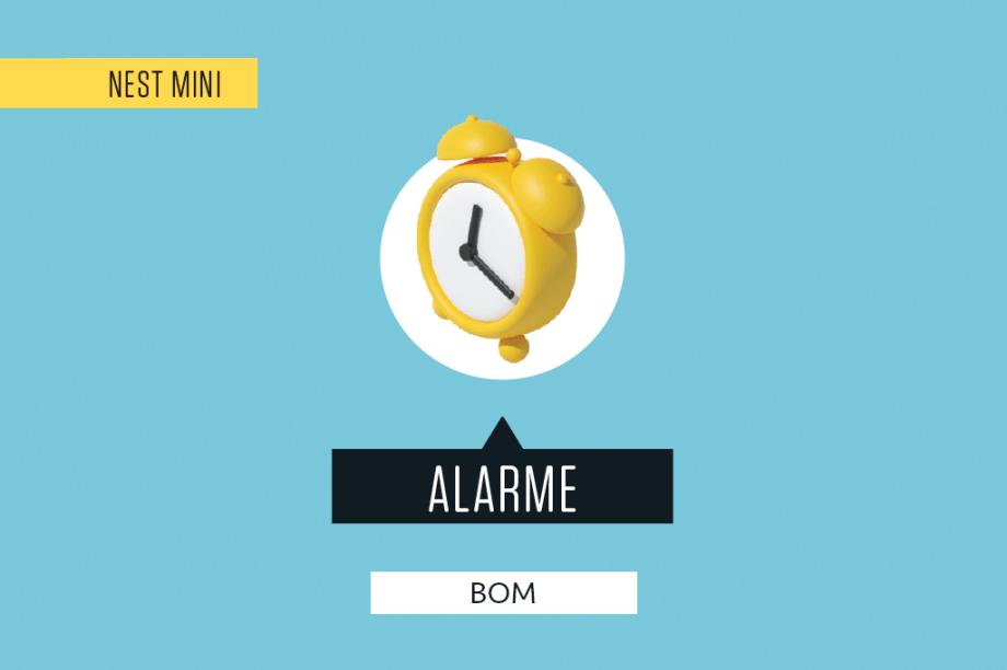 """Funciona bem como despertador: é fácil configurar o horário do alarme, ou pedir mais um tempinho quando ele começa a tocar (""""Ok Google, mais dez minutos""""). Também dá para cancelar o alarme dando duas batidinhas na Nest Mini."""