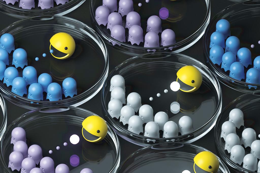 Você pode imaginar a imunoterapia como um jogo de Pac-Man: suas células de defesa só conseguem atacar o câncer após terem comido a bolinha.