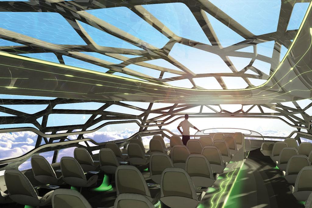 <strong>Avião conceitual da Airbus prevê partes transparentes da fuselagem para 2050, permitindo aos passageiros uma sensação de voo diferente de tudo que temos hoje.</strong>