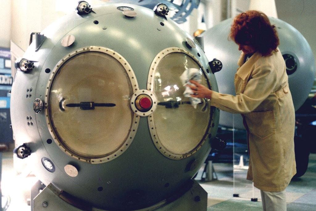 <strong>Réplica da primeira bomba atômica desenvolvida pela URSS.</strong>