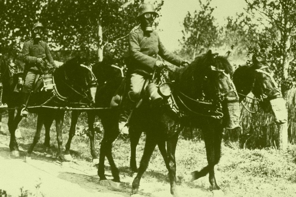 <strong>Até cavalos usaram máscaras: a arma química mais temida era o gás de mostarda.</strong>
