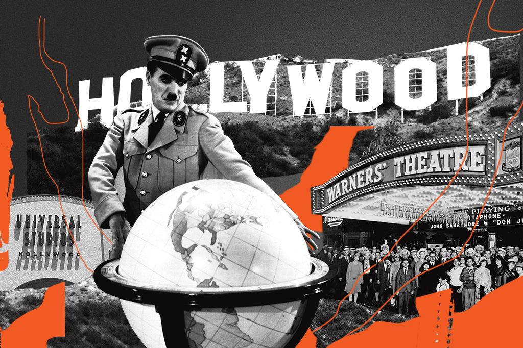 """Com a eclosão da Segunda Guerra, os estúdios começaram a fazer filmes antinazistas. No mais famoso deles, """"O Grande Ditador"""", o personagem de Charles Chaplin é uma sátira de Hitler."""