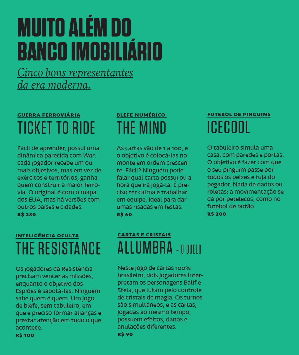Cinco bons representantes da era moderna dos jogos de tabuleiro: Ticket to Ride, The Mind, Icecool, The Resistance e Allumbra – o Duelo.
