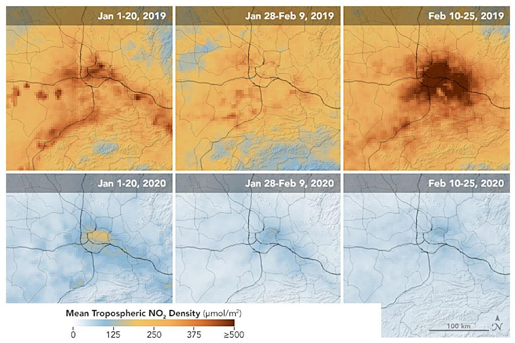 Comparativo da emissão de poluentes na cidade de Wuhan, epicentro do novo coronavírus.