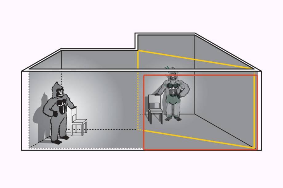 Quando o mágico sai do palco, a luz da sala da esquerda começa a se acender e a da direita a se apagar. Nesse momento, a imagem do gorila, que está na sala da esquerda, reflete no vidro – e cria a ilusão da transformação.