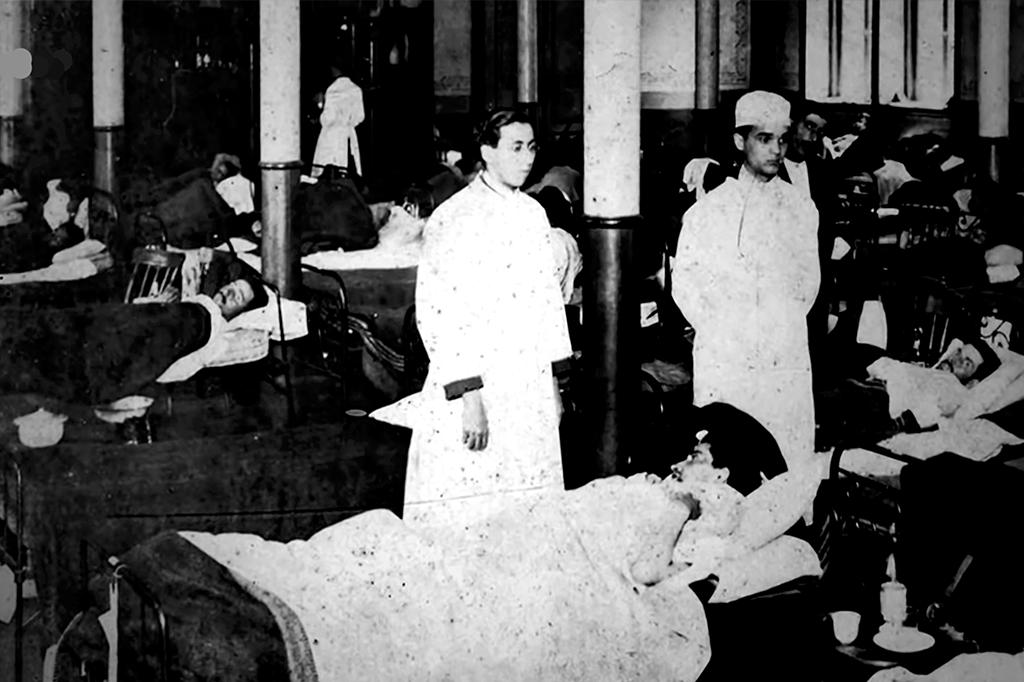 Colégio Arquidiocesano, em São Paulo: em 1918, a instituição, com aulas suspensas, converteu-se em hospital de campanha, com 400 leitos.