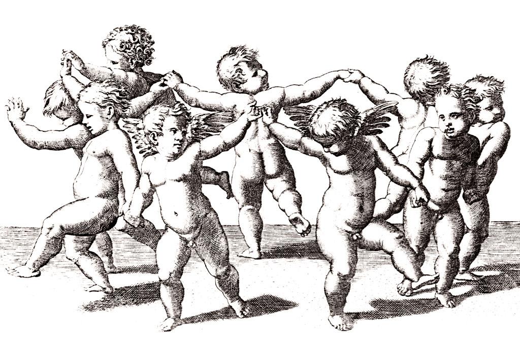 Ilustração de diversos anjos nus em roda, dançando. Eles são pequenos, como crianças, a possuem pequenas asas nas costas