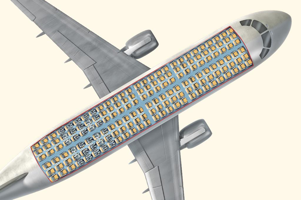 <strong>As companhias de baixo custo transformaram o avião numa lata de sardinha: fileiras duplas de três poltronas, com espaço mínimo entre elas.</strong>