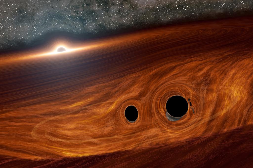 Três é demais: dupla de buracos negros colide na órbita de outro buraco