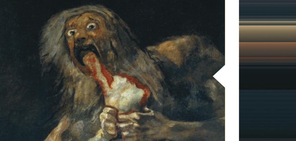 <strong>Cenas grotescas e personagens desprezados ganharam as telas. O espanhol Goya era mestre em criar manchas de sombra para dar volume. Foi o que ele fez neste adorável retrato de Saturno.</strong>
