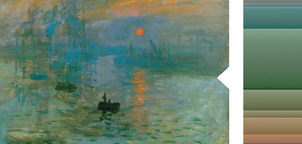 <strong>Para pintar o Sol, o reflexo na água e as nuvens, Monet misturou todas as tintas na tela.</strong>