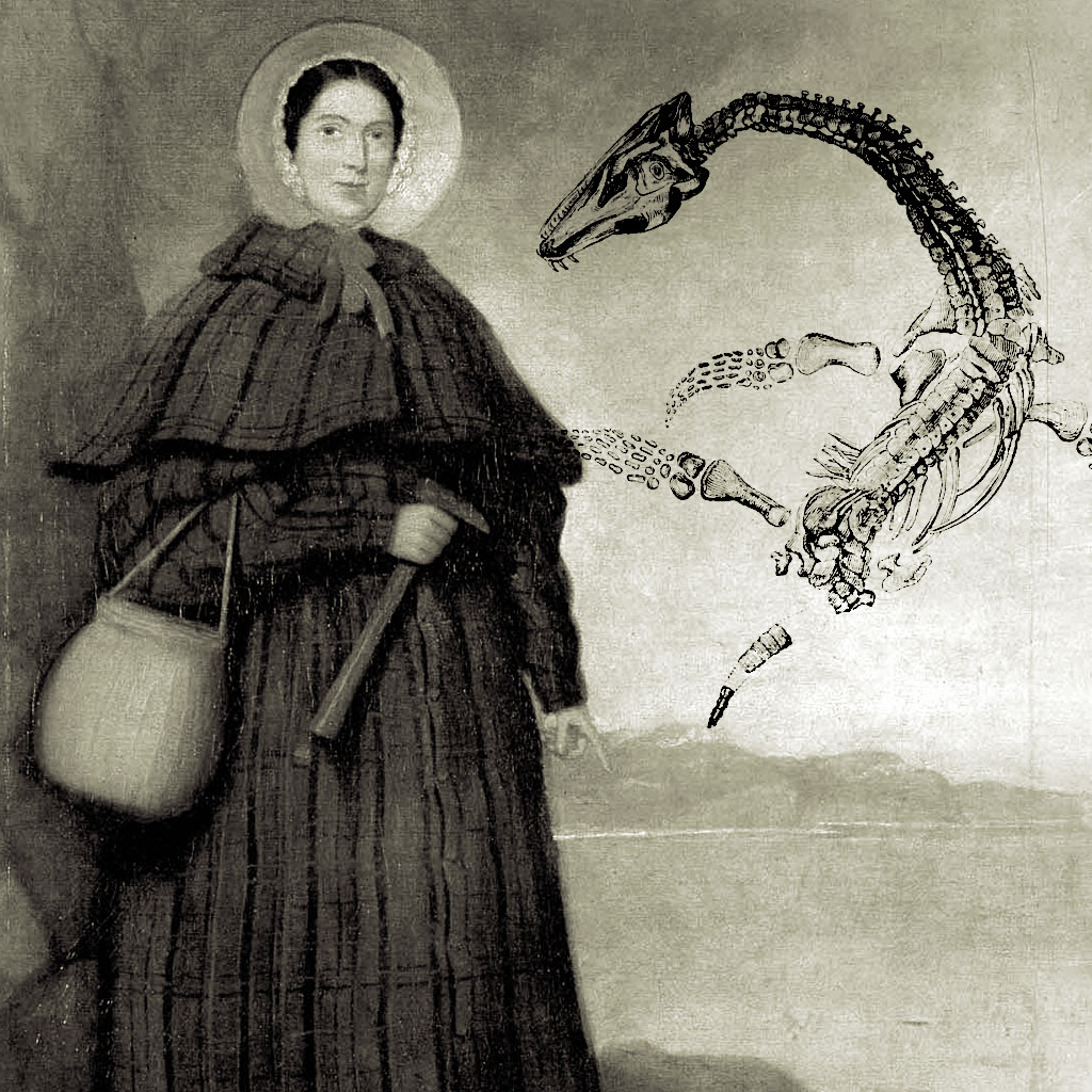 <strong>Fóssil de plessiossauro, descoberta de Mary Anning em 1830.</strong>