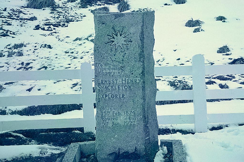 <strong>Lápide de Ernest Shackleton em Grytviken, na ilha Geórgia do Sul.</strong>