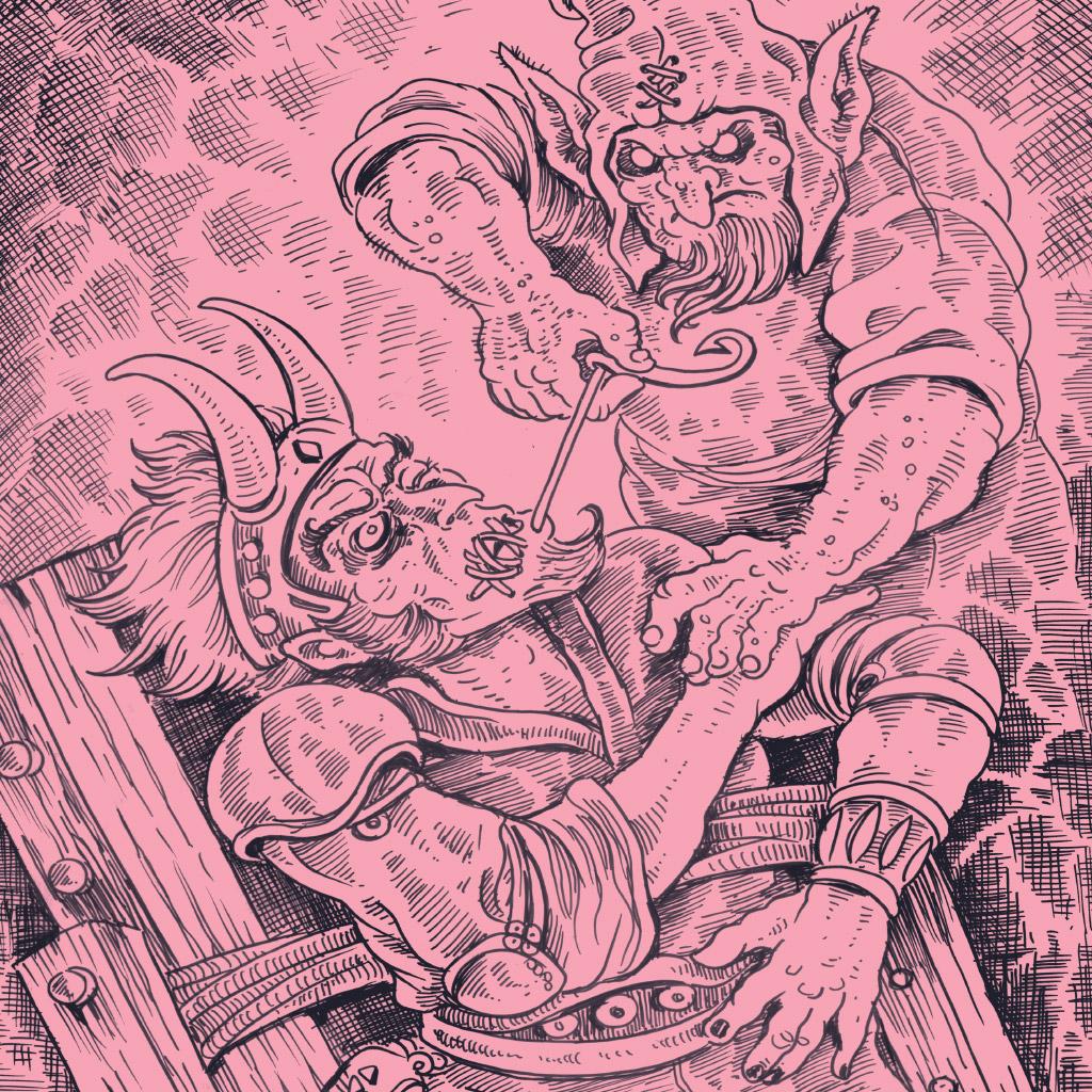 <strong>Por tentar enganar os anões, Loki acaba com a boca costurada.</strong>