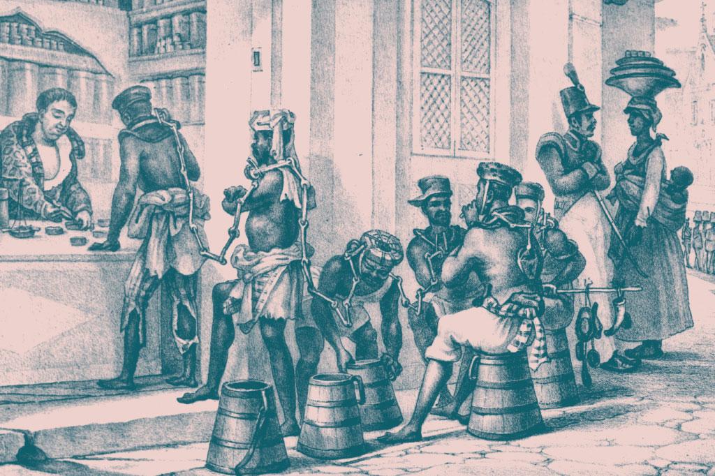 <strong>A descoberta de ouro em Minas Gerais aumentou a demanda por mão de obra escravizada. Na imagem, desenhada pelo francês Jean-Baptist Debret (1768-1848), escravos compram tabaco antes de seguir para o trabalho.</strong>
