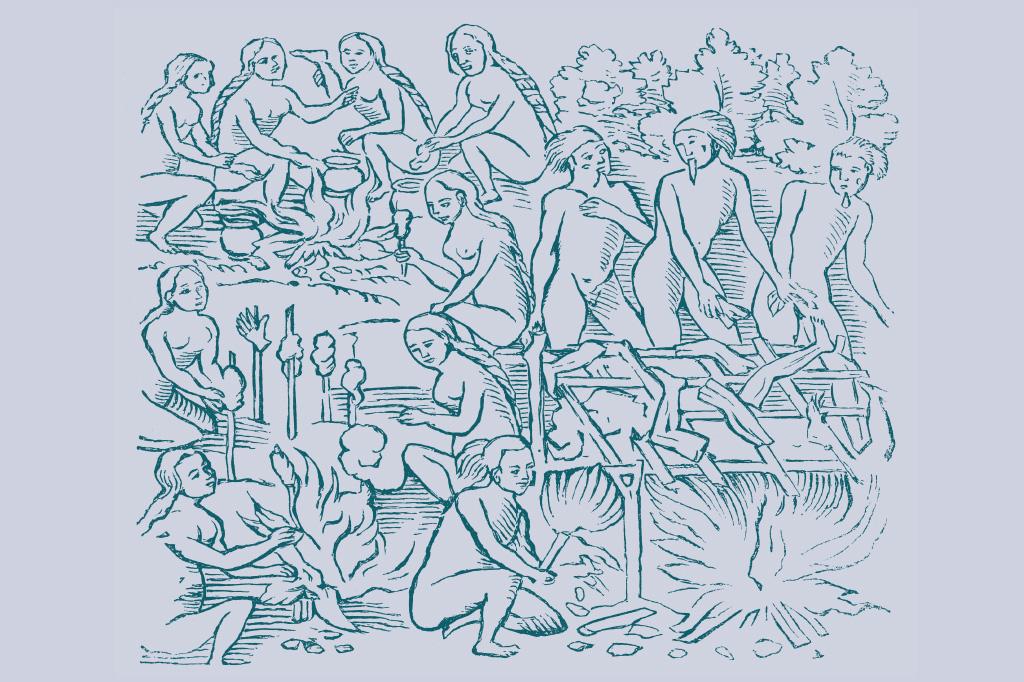 <strong>Desmembrado, o corpo era distribuído para todos os integrantes da tribo, homens e mulheres, de todas as idades.</strong>