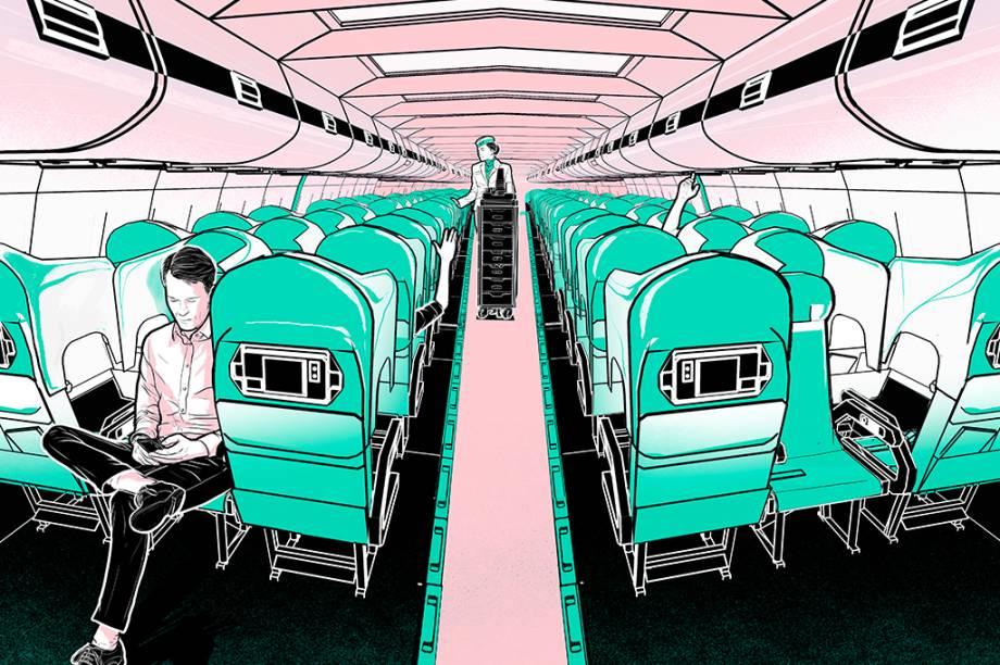 A empresa italiana AvioInteriors propõe uma mudança nos assentos dos aviões: os passageiros das extremidades olham para frente, enquanto o do meio olha para trás. Essa disposição, em tese, abre espaço para um escudo de proteção. E evita que os passageiros tenham de amputar os braços para embarcar num voo de classe econômica.