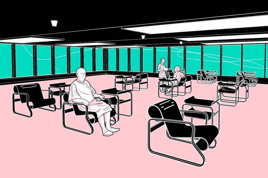 O Paimio Sanatorium, aberto em 1928 na Finlândia. As longas janelas permitem a entrada de luz, enquanto a planta ampla promove a circulação do ar. Na sala de descanso, a cadeira Paimio era ligeiramente inclinada para facilitar a respiração dos pacientes, além de não possuir cantos e ser fácil de limpar. Ela permanece à venda até hoje; a união de conforto e praticidade inspirou outros móveis.