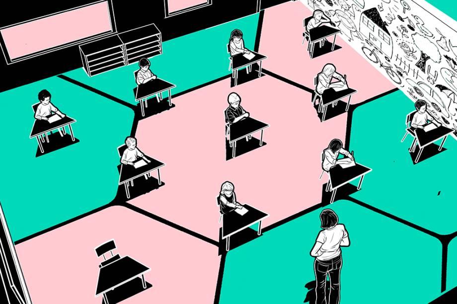A maneira mais eficaz de distribuir pessoas em uma sala preservando o distanciamento é colocá-las nos vértices de um tabuleiro imaginário de hexágonos (a economia de espaço é de 15% em relação a um grid de quadrados). Ao lado, veja uma sala de aula repensada dessa forma. Empresas de design como a Bubble Architecture, da Alemanha, propõem fazer isso em escritórios, museus e bibliotecas.