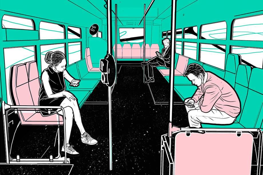 Em outros países, a maioria dos ônibus não tem catraca. O mais comum é o passageiro passar o bilhete magnético imediatamente após embarcar no veículo. Além disso, também há assentos dispostos de lado, para liberar espaço de circulação. Essa configuração é bem mais higiênica por evitar que as pessoas se esfreguem entre si e na catraca – e poderia ser adotada nas cidades brasileiras.