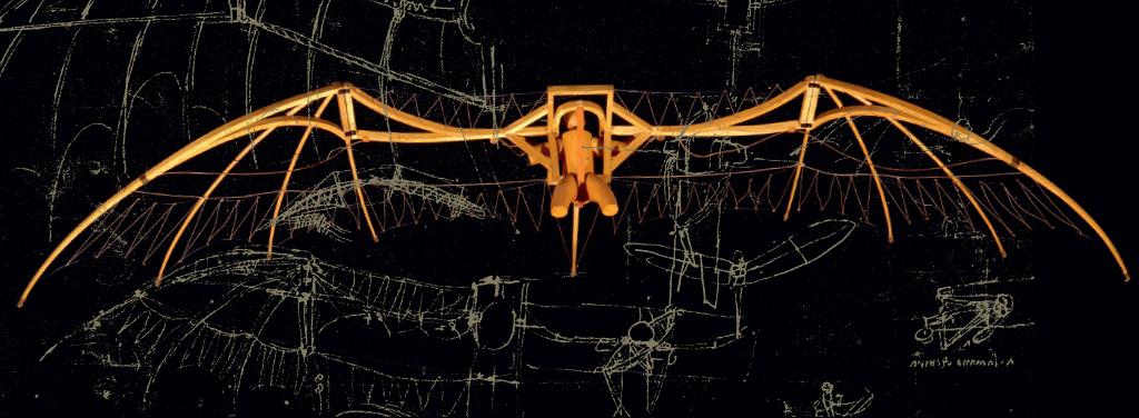 <strong>O inventor fez dois desenhos da estrutura das asas, um a tinta e outro a sanguínea (uma espécie de giz), na tentativa de estabelecer uma analogia entre o morcego, a libélula e a máquina voadora que tinha acabado de projetar.</strong>