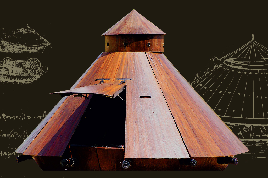 <strong>Os homens posicionados na torre enxergariam o campo de batalha do alto, através de pequenas aberturas circulares. Seriam responsáveis pelo direcionamento dos disparos de canhão.</strong>