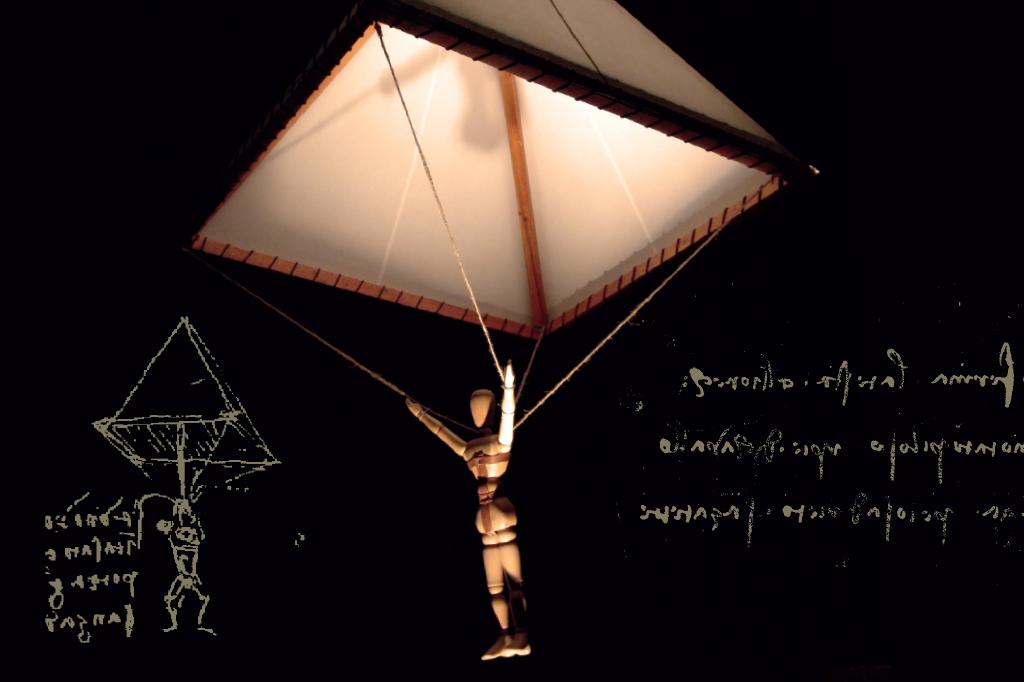 <strong>Como a palavra paraquedas ainda não existia, o inventor batizou sua criação de tenda. Para que ficasse totalmente impermeável ao ar, Da Vinci recomenda em suas anotações que o tecido seja bem engomado.</strong>
