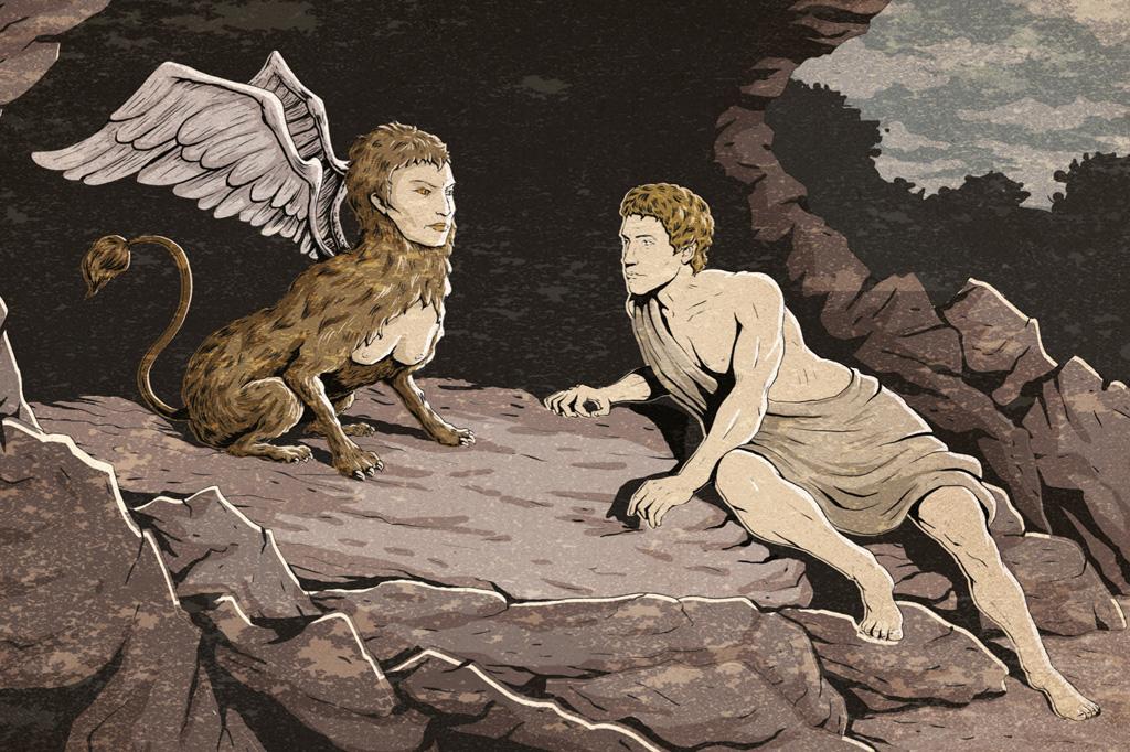 <strong>Em um despenhadeiro nas vizinhanças de Tebas, a Esfinge desafiava viajantes com um enigma. Édipo foi o único capaz de derrotá-la.</strong>