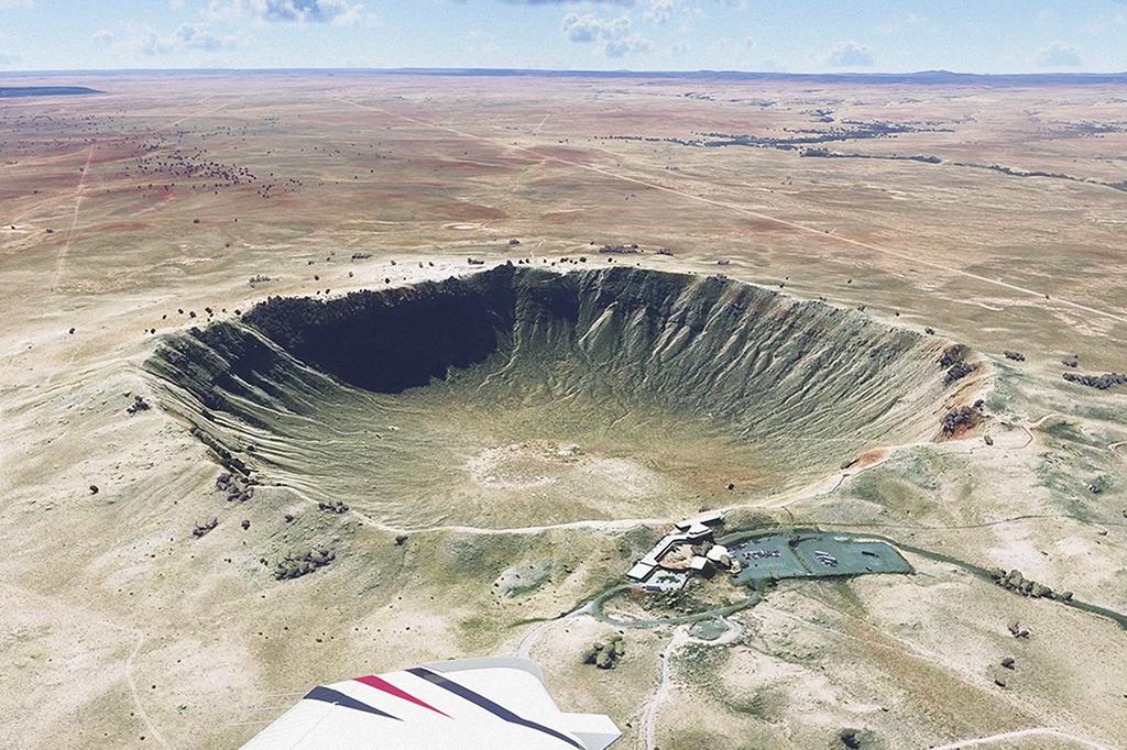 Como reproduz o mundo a partir de fotos reais, o simulador também serve para conhecer pontos turísticos. Inclusive os mais exóticos – como a Cratera de Barringer, nos EUA.