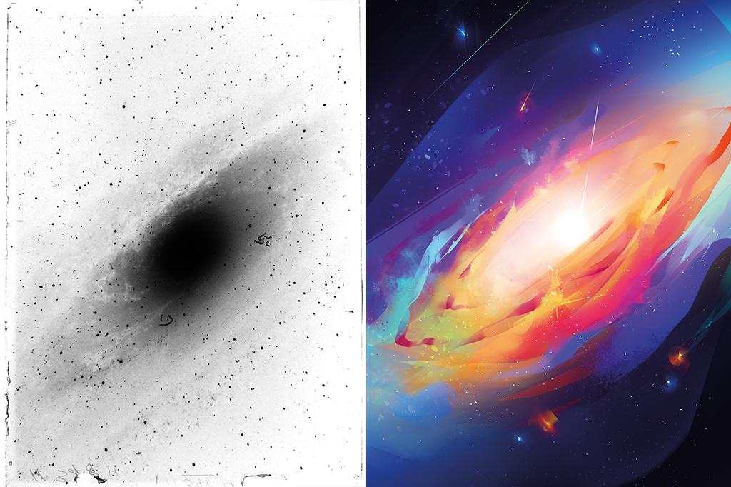 À esquerda, uma das placas de vidro usadas por Hubble para descobrir que Andrômeda era outra galáxia, semelhante à Via Láctea. A foto é um negativo em preto e branco: a luz da galáxia é representada pelas áreas negras.