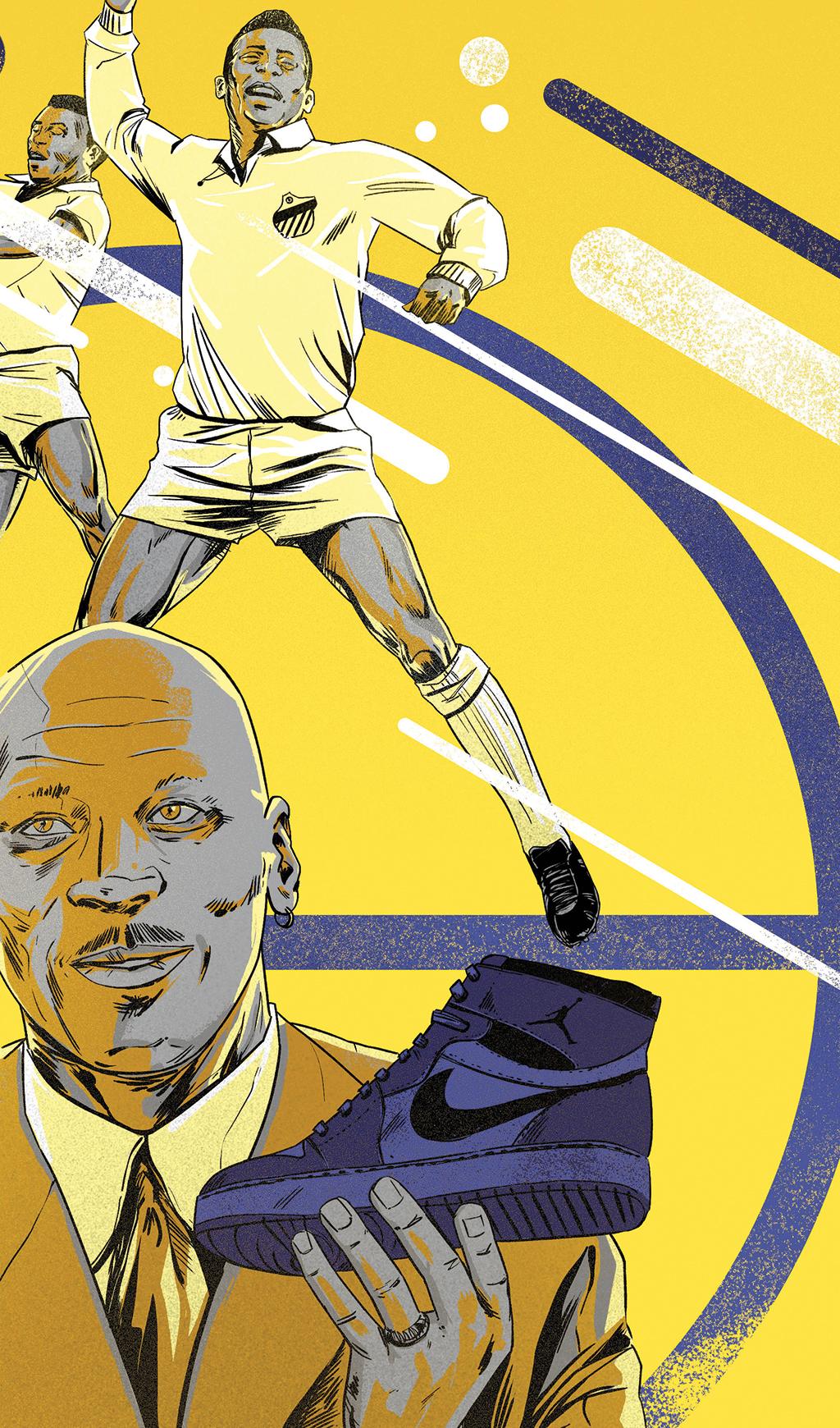✭ Pelé (1940 – ) Um atleta moderno no tempo da bola marrom. ✭ Michael Jordan (1963 – ) Estrela maior da NBA. E da Nike.