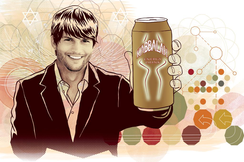 <strong>EM CASA – O ator Ashton Kutcher foi apresentado à cabala pela mulher, a atriz Demi Moore.</strong>