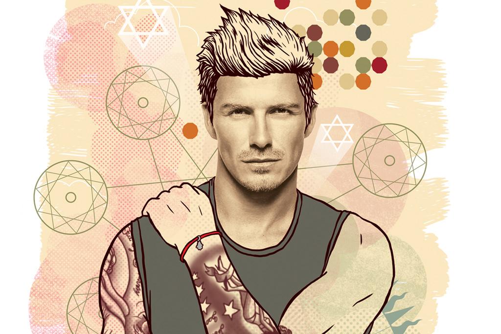 <strong>AMULETO – O jogador David Beckham foi visto com a pulseira vermelha no punho.</strong>