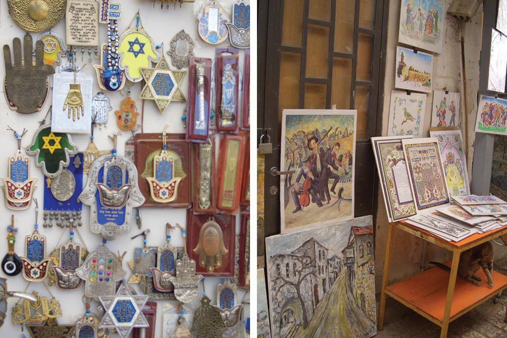 <strong>1) Na parte antiga de Safed, lojinhas vendem objetos cabalísticos e joias com letras hebraicas; 2) As pinturas de artistas locais trazem paisagens da região e personagens históricos.</strong>