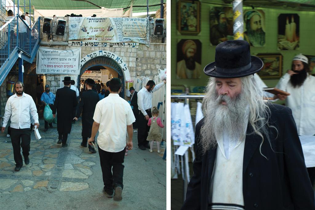 <strong>1) Grupos de cabalistas e curiosos seguem a pé em direção à sinagoga de Shimon bar Yochai, no monte Meron, onde acontece a festa de Lag Baomer; durante o trajeto, uma Torá centenária é passada de mão em mão; 2) É fácil encontrar antigos moradores da cidade israelense vagando pelas ruas, geralmente a caminho de alguma sinagoga.<br /></strong>