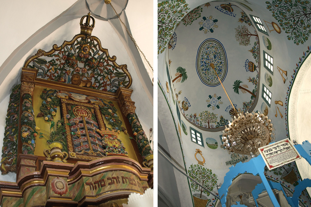 <strong>1) A bela arca é uma das atrações da Sinagoga Ari Ashkenazi; 2) Na sinagoga, construída no século 16, também chama a atenção o teto, com pinturas que remetem à Árvore da Vida.</strong>