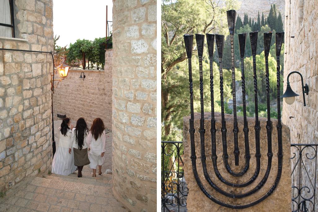 <strong>1) Moças passeiam nas ruelas de Safed; 2) Candelabro com 9 pontas, comum na cidade.</strong>