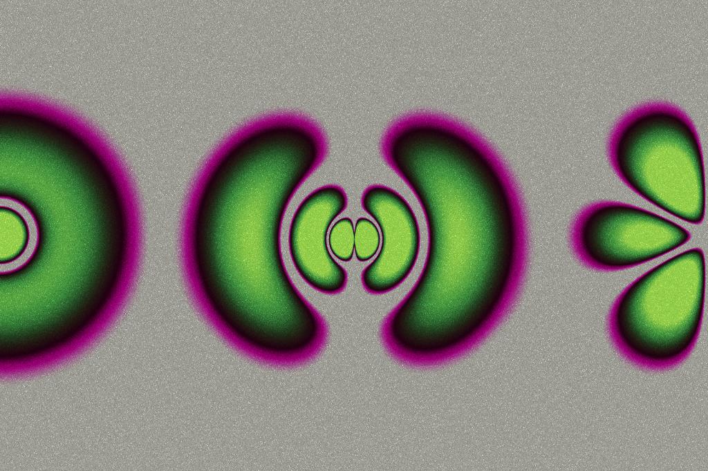 Nunca saberemos a real a aparência de um átomo, pois ele é pequeno demais para ter uma aparência. A ilustração acima mostra as nuvens de probabilidade de elétrons em diferentes níveis de energia. Em português claro: as áreas verdes são as regiões em torno do núcleo do átomo onde há mais chances de um elétron estar. É impossível ter certeza absoluta sobre sua posição. Essas nuvens são regidas pela equação de Schrödinger.