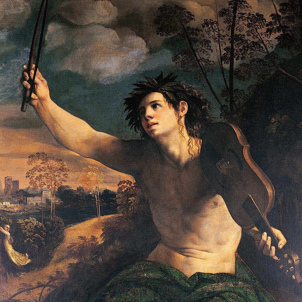 <strong>Deus da música, Apolo toca um instrumento de cordas para o deleite dos imortais.</strong>