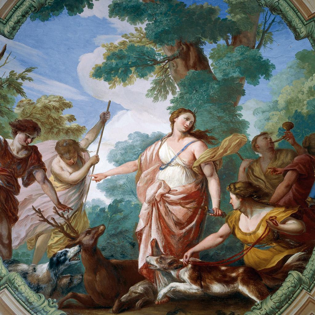 <strong>Sempre na companhia de belas ninfas, Ártemis se cerca de cães e cervos em sua existência na natureza.</strong>
