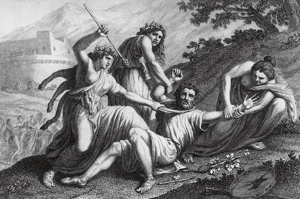 <strong>Bacantes alcoolizadas avançam contra o rei de Tebas, que tenta proibir a devassidão dionisíaca.</strong>