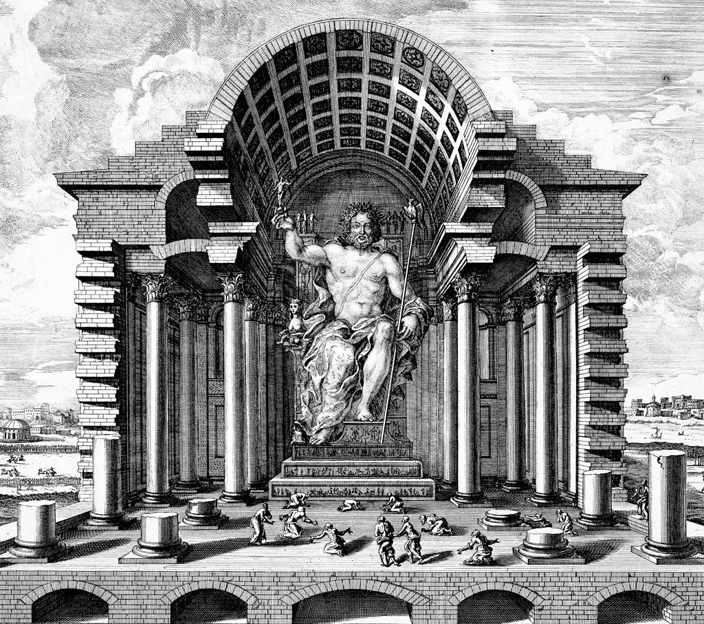 <strong>Com 13 metros de altura, representando o maior dos deuses olímpicos, a estátua de Zeus em Olímpia foi uma das Sete Maravilhas do Mundo Antigo.</strong>