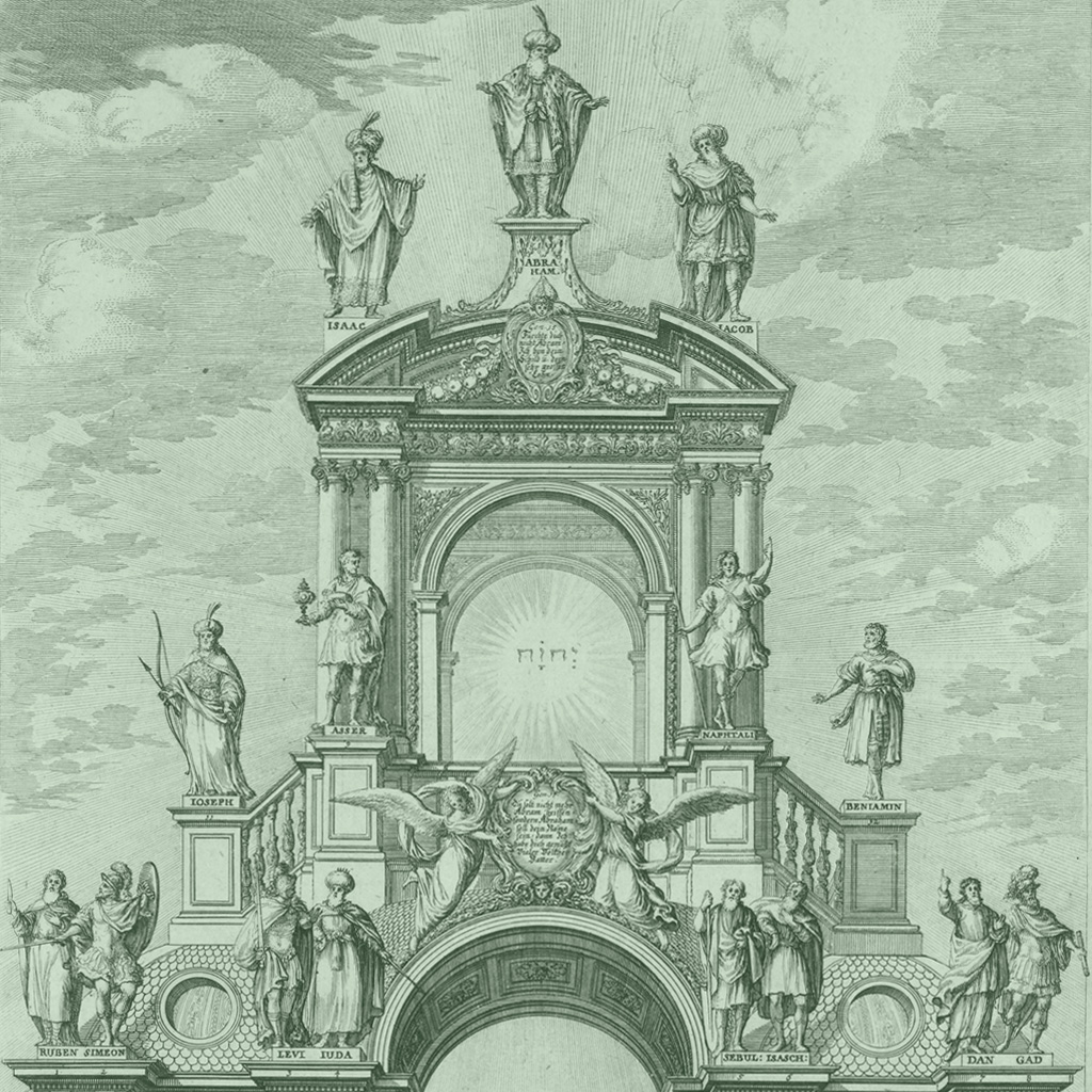 "<strong>Arco triunfal barroco com imagens dos patriarcas israelitas e a palavra ""Iahweh"".</strong>"