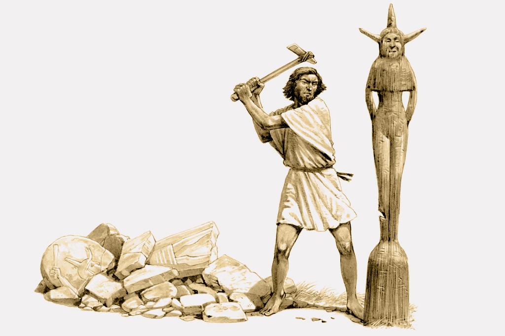 <strong>Representação do guerreiro israelita Gideão destruindo uma imagem de Asherah.</strong>