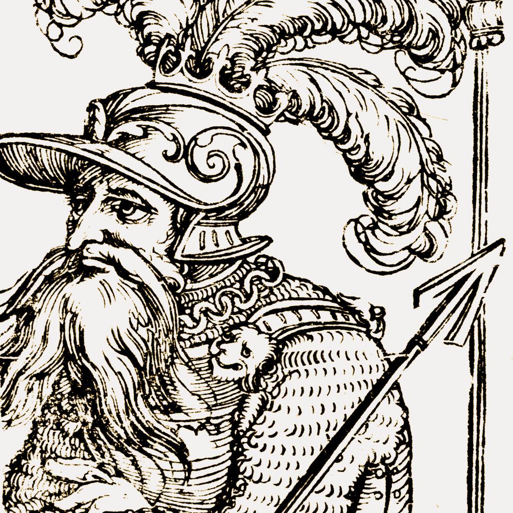 <strong>Acab, rei de Israel, aqui retratado anacronicamente com trajes de cavaleiro do fim da Idade Média.</strong>