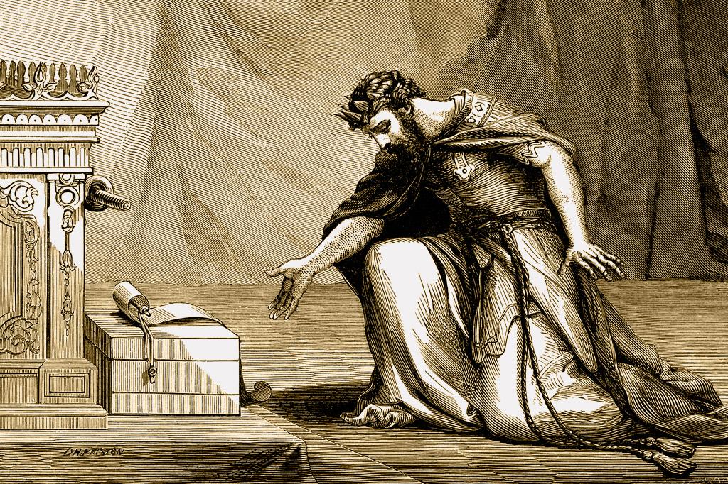 <strong>O rei Ezequias recebe uma mensagem e a lê no Templo de Jerusalém.</strong>