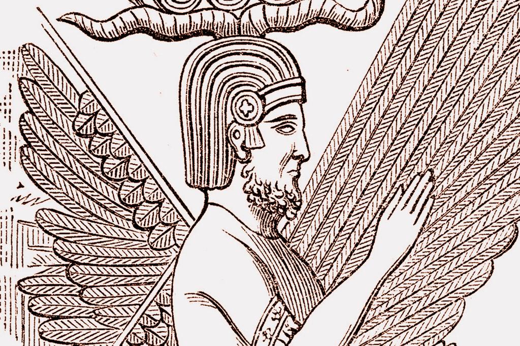 <strong>Ciro, o Grande, representado com traços dos antigos espíritos protetores da Mesopotâmia.</strong>