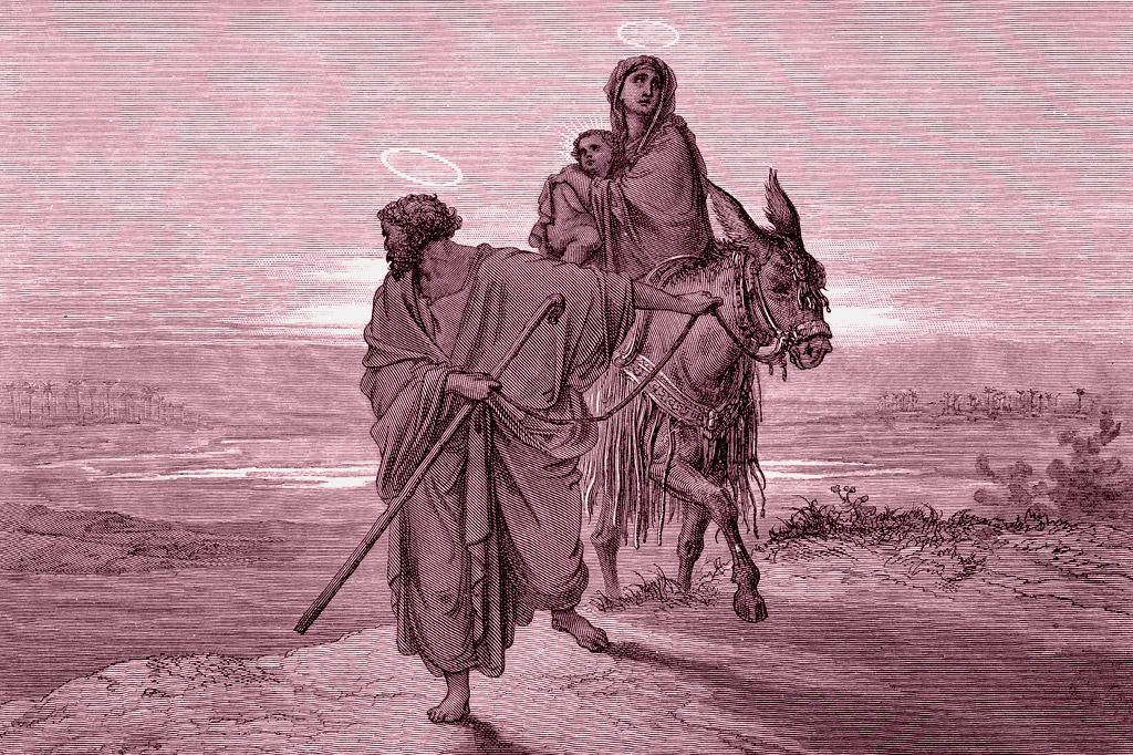 <strong>José, Maria e Jesus durante a fuga para o Egito, passagem inspirada no livro do Êxodo.</strong>