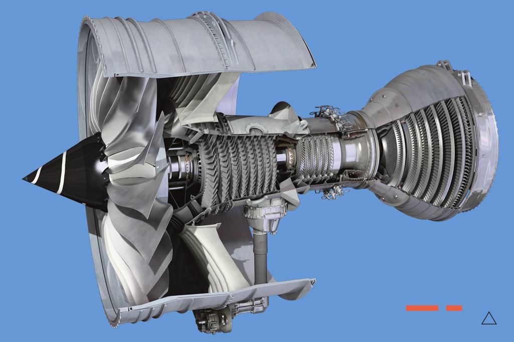 <strong>O Trent 1000, da Rolls-Royce, é um turbofan dividido em três eixos – fan, compressores e turbina – que dá empuxo a aviões como o 787 Dreamliner.</strong>