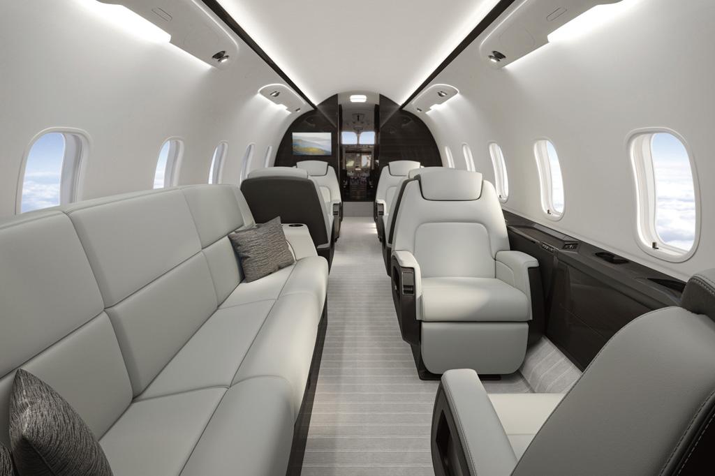 <strong>Cabine do Challenger 350, da Bombardier: supermédio para até 8 passageiros custa mais de US$ 26 milhões.</strong>